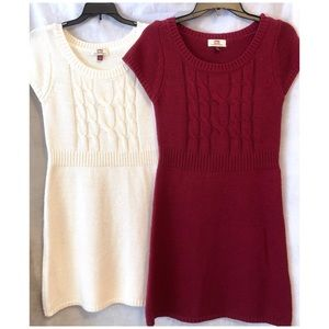 (2) l.e.i. Sweater Dresses, Cream and Burgundy